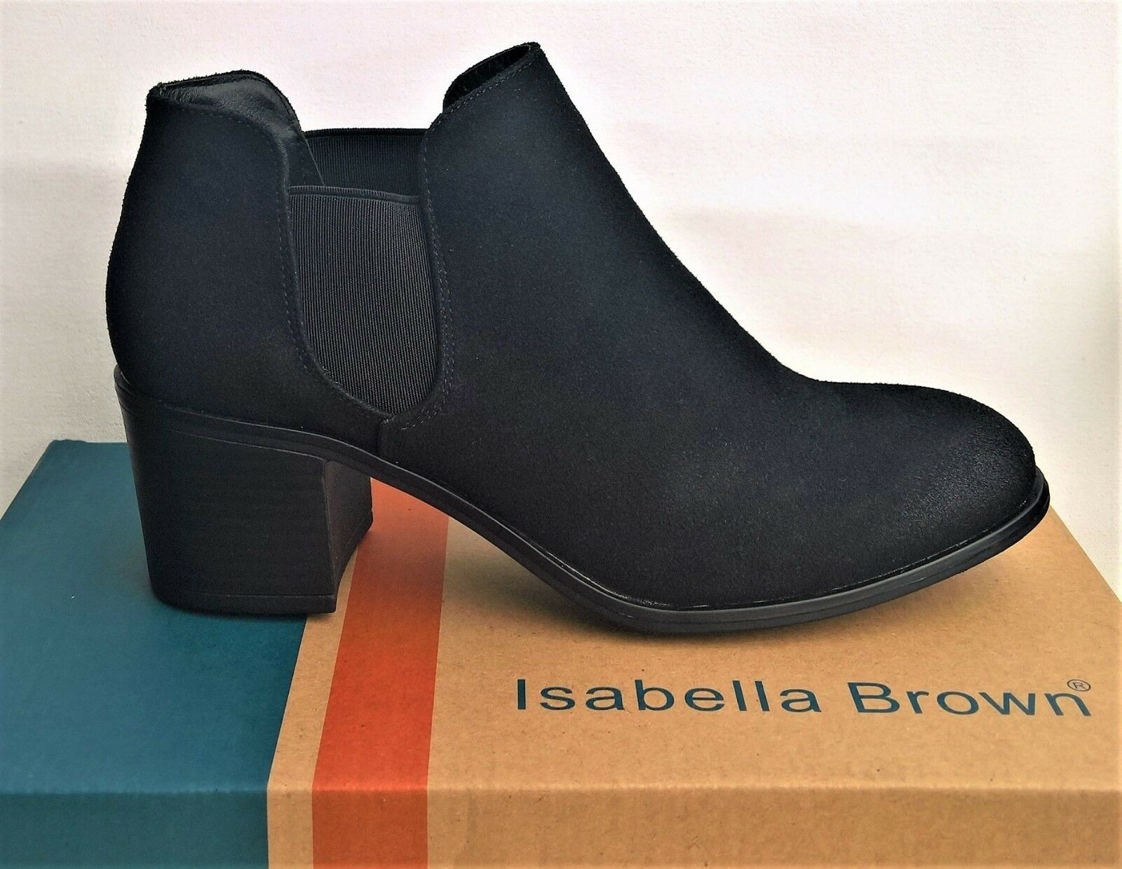Mid heel ankle pull on boots. Isabella Brown Shoes - Darling