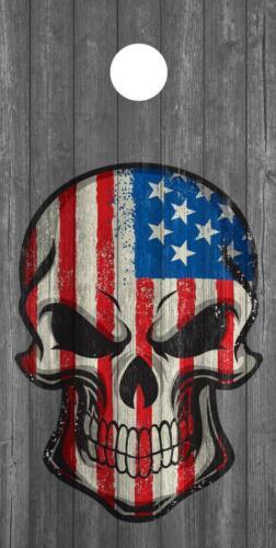 Skull Flag Cornhole Board Wrap Vinyl Laminate Custom Gun America Pistol USA 2nd
