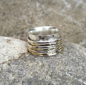 Solid-925-Sterling-Silver-Meditation-Ring-Statement-Ring-Spinner-Ring-Size-sr403