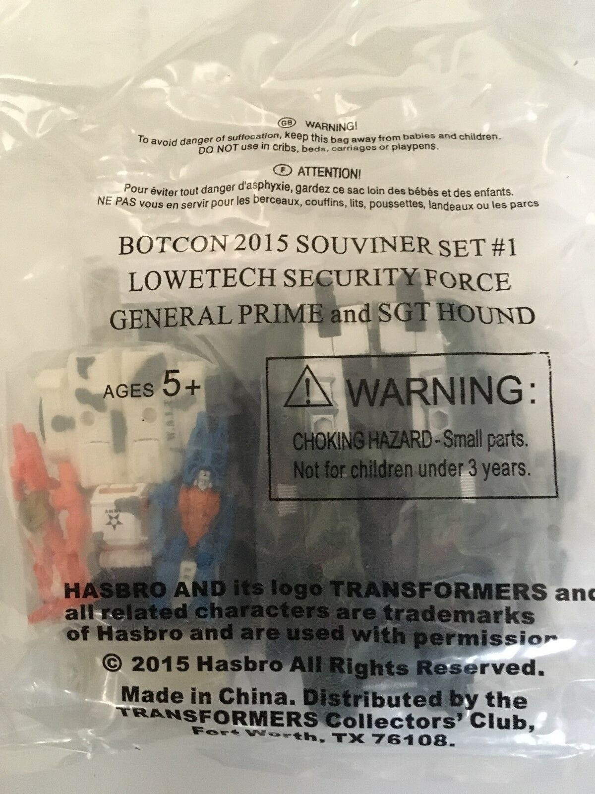 Unopened Botcon 2015 Lowtech Security ForceGeneral Optimus Prime Ssilver Hound