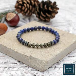6mm-Lapis-Lazuli-Pyrite-Bracelet-Hematite-Spacers-Natural-Stone-Bead-Stretch-Fit