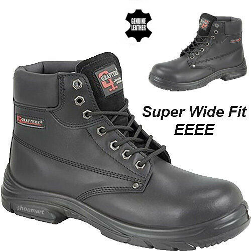 MENS NEW SAFETY STEEL TOE CAP SUPER WIDE EEEE FITTING LEATHER LACE UP ANKLE BOOT