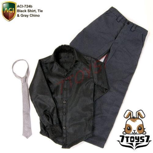 ACI Toys 1//6 Moda 724b/_ Black Shirt Tie /& Gray Chino Set/_casual clothing AT046Z