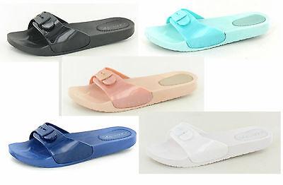 Venta señoras de punto en Slip On Mula Jelly Zapatos Con Hebilla Decorativa Frontal f10270