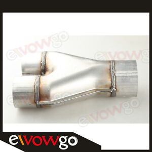 Universal-Custom-Exhaust-Y-Pipe-2-5-034-Dual-3-034-Single-Aluminized-Steel