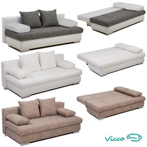 vicco schlafsofa couch sofa federkern 200x95cm bettkasten bett schlafcouch ebay. Black Bedroom Furniture Sets. Home Design Ideas