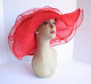 NEW Church Derby Wedding Sinamay & Organza Wide Brim Hat Red C-VF3034