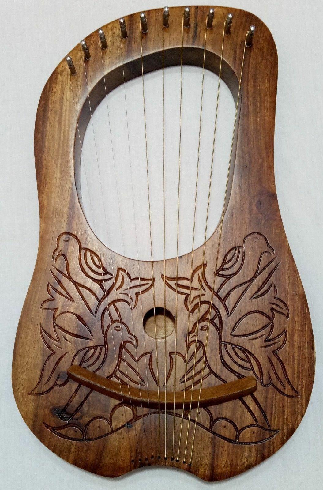 TC Lyra Mundharmonika 10 Metall Saiten Palisanderholz Tragetasche Tasten   Arpa