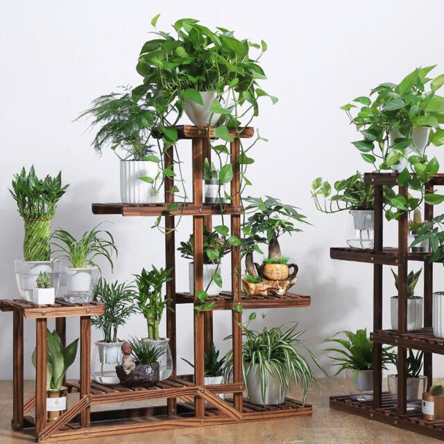 Updated V Wooden Flower Pot Plant Stand Outdoor Indoor 5tier Rack