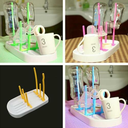 New Portable Bottle Draining Rack Baby Feeding Drying Drain Folding Cup Glass 6A