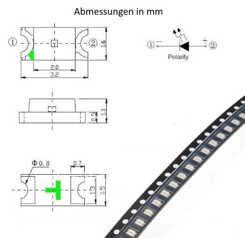 S913-50 trozo de LED SMD 1206 blanco cálido LEDs cálido White