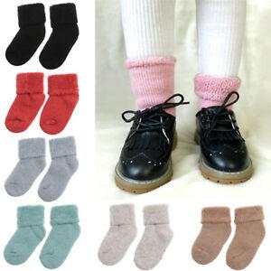 Nouvelles-chaussettes-d-039-hiver-en-laine-pour-enfants-Chaussettes-de-neige-epaiss