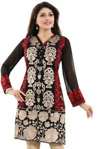 Women-Indian-Black-Kurti-Tunic-Georgette-Full-Embroidery-Kurta-Shirt-Dress-AN01