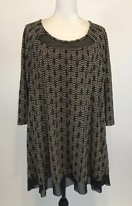 Catherines-Size-1X-18-20-Brown-Knit-Tunic-Top-Sheer-Trim-3-4-Sleeve