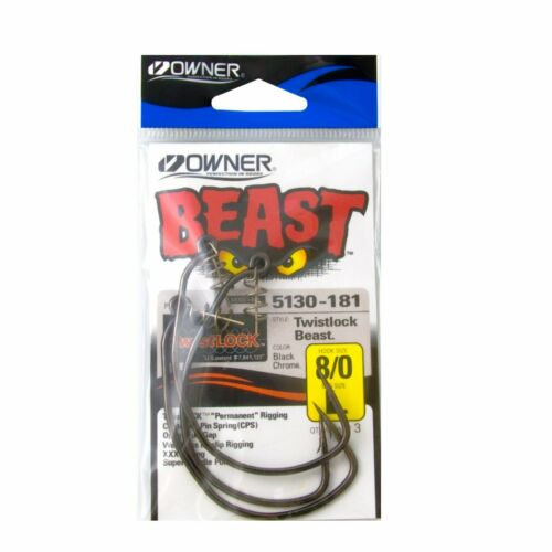 Owner Beast Weighted Hooks with TwistLOCK Black Chrome Range Predator Fishing