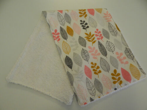 Leaves on White Burp Cloth 1 Only Toweling Back Certified Organic Cotton