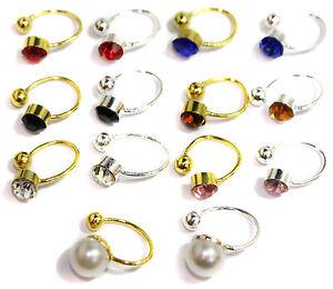 Crystal-Stud-U-CLIP-On-Clipon-Earrings-Upper-for-Ears-Nose-Lip-Cartilage