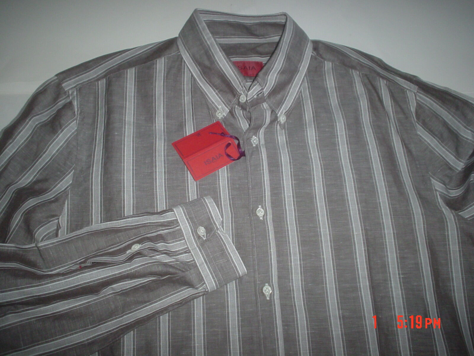 f29e1a6d NWT ISAIA NAPOLI MADE IN ITALY COTTON LINEN POSSIBLE SLEEVE MEN'S SHIRT  SZ.16,