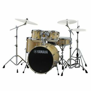 Drum-Kit-Yamaha-Stage-Custom-22-034-5-Piece-Shell-Drums-w-Hardware-Natural-Wood