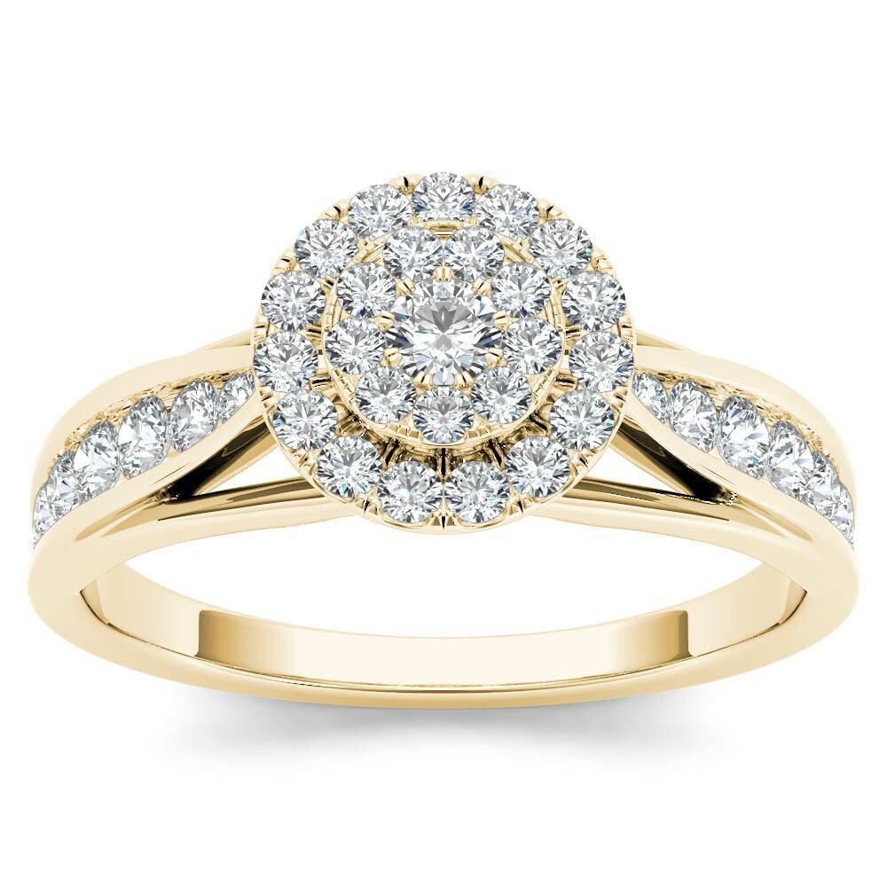 14k Yellow gold 5 8ct TDW Diamond Halo Engagement Ring