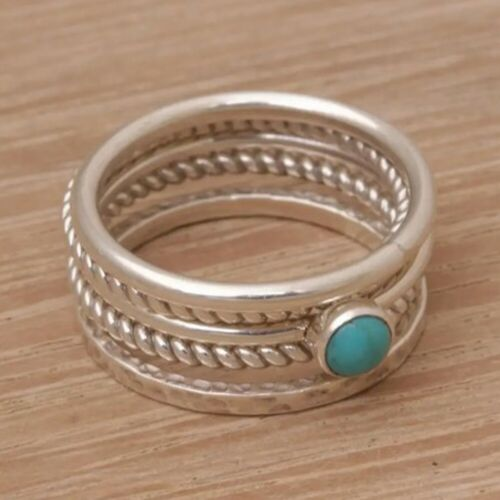 Turquoise Solid 925 Sterling Silver Band Ring Handmade Jewelry vc911