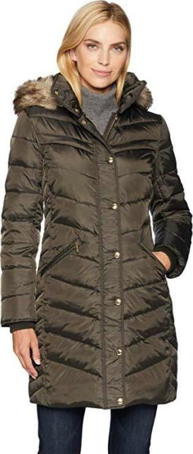 Michael Kors Women's Hooded Faux Fur Trim Down Puffer Coat Plus 3X Dark Moss