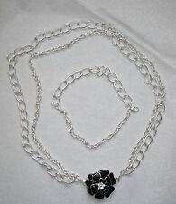 NEW STELLA & DOT La Coco Flower Brooch Necklace & Bracelet $118