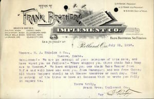 1890 Portland Oregon (OR) Letter Frank Brothers Implement Co.