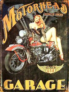 motorhead-since-1939-PIN-UP-Plaque-de-tole-METALLIQUE-panneau-en-etain-30-x-40