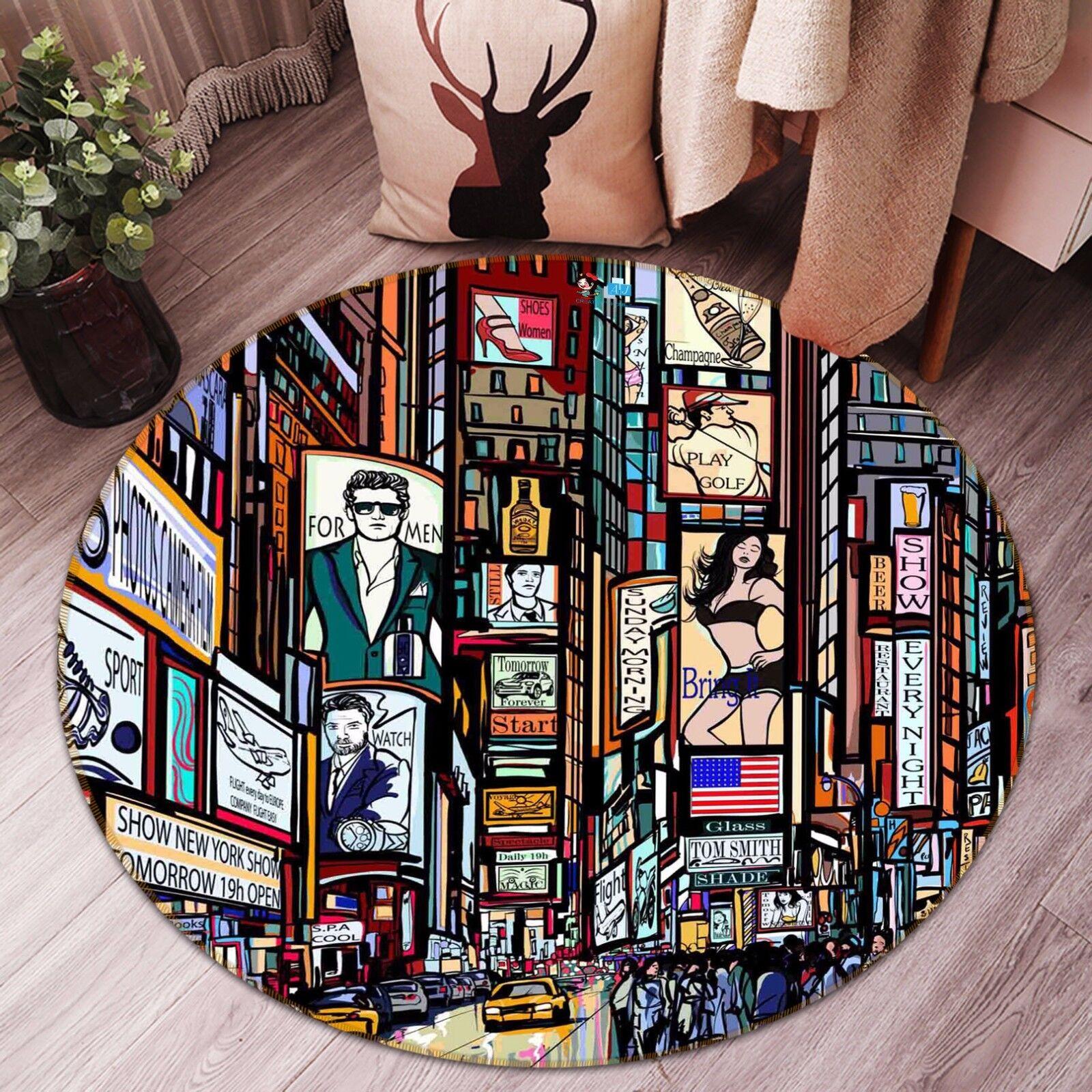 3D Hand Draw City 963 Non Slip Rug Mat Room Mat Round Elegant Photo Carpet CA