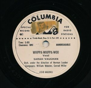 SARAH-VAUGHAN-on-1950-Columbia-CO-44308-Whippa-Whippa-Woo-Whippa-Whippa-Woo