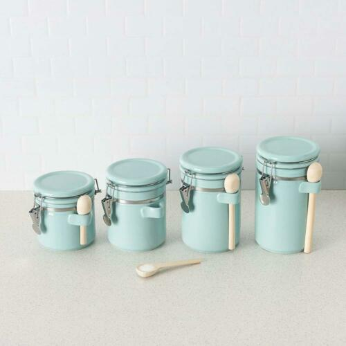 Canister Set Spoon Turquoise Kitchen Food Storage Containers Organizer 4 Pc New