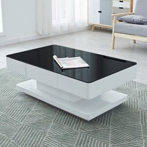 Details About High Gloss Coffee Table Glass Top Rectangular Living Room Storage Mdf Black