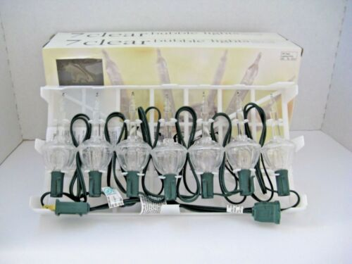 NRFB 7 BULBS ON CORD SET CLEAR BUBBLE LIGHTS NEW