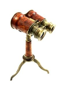 Collectibles Antique Nautical Leather Binocular With Brass Stand Desk Decor Gift Ebay