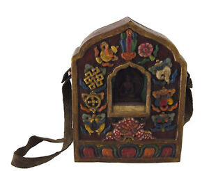 Ghau IN Legno Tibetano Tempio Altare 19cm Jan Budda Medicina Tibet 25942 S10B