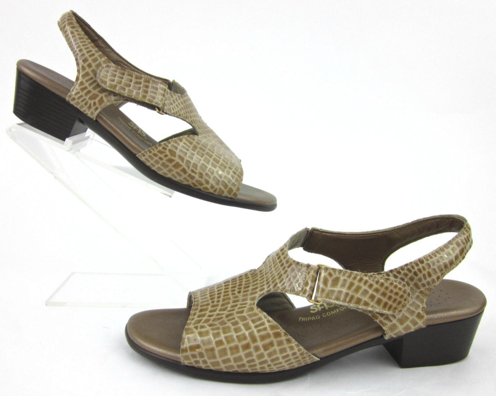 SAS suntimer confort sandales beige croco cuir verni-Largeur 10 W