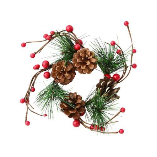 Christmas Wreath Pine Cone Rattan Door Wall Hanging Pendant Xmas Decoration New