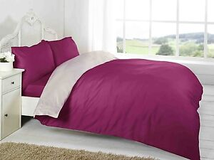 KING SIZE 4 PIECE COMPLETE SET REVERSIBLE BURGUNDY CREAM BEDDING STYLE POLYESTER
