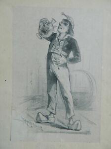 Litografia Originale Fumetto E Litografata da Louis Lemaresquier C.1890
