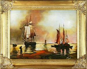 Painting-Oil-Painting-Picture-Oil-Frame-Pictures-Sea-Ships-Oil-Painting-G02158