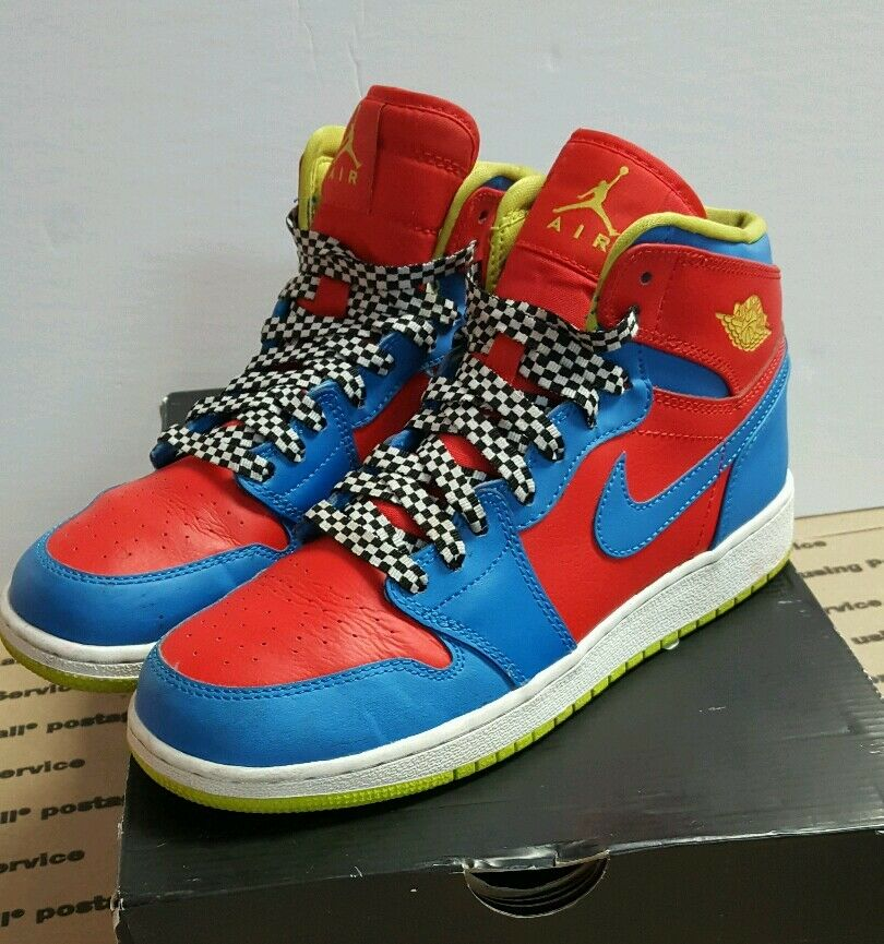 Authentic NIKE AIR JORDAN 1 RETRO HIGH OG  Red-Blue Neon Green Grip Size 6Y