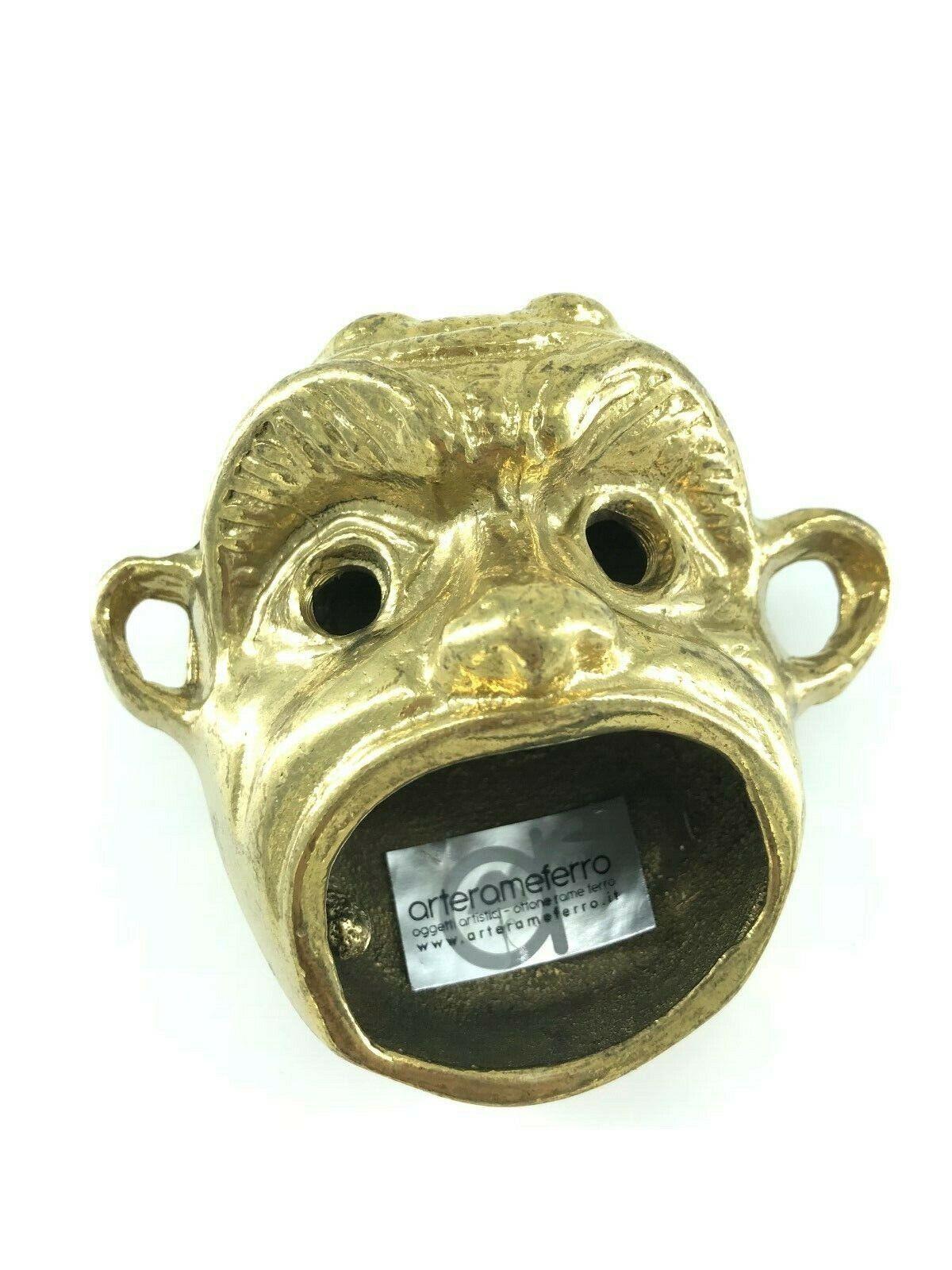 Big Face Maske Boccaccio Ascher Briefbeschwerer Messing Glänzend Geschenkidee