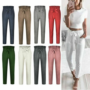 US-Women-039-s-Casual-Loose-High-Waist-Long-Pencil-Pants-with-Bow-Tie-Belt-Trousers