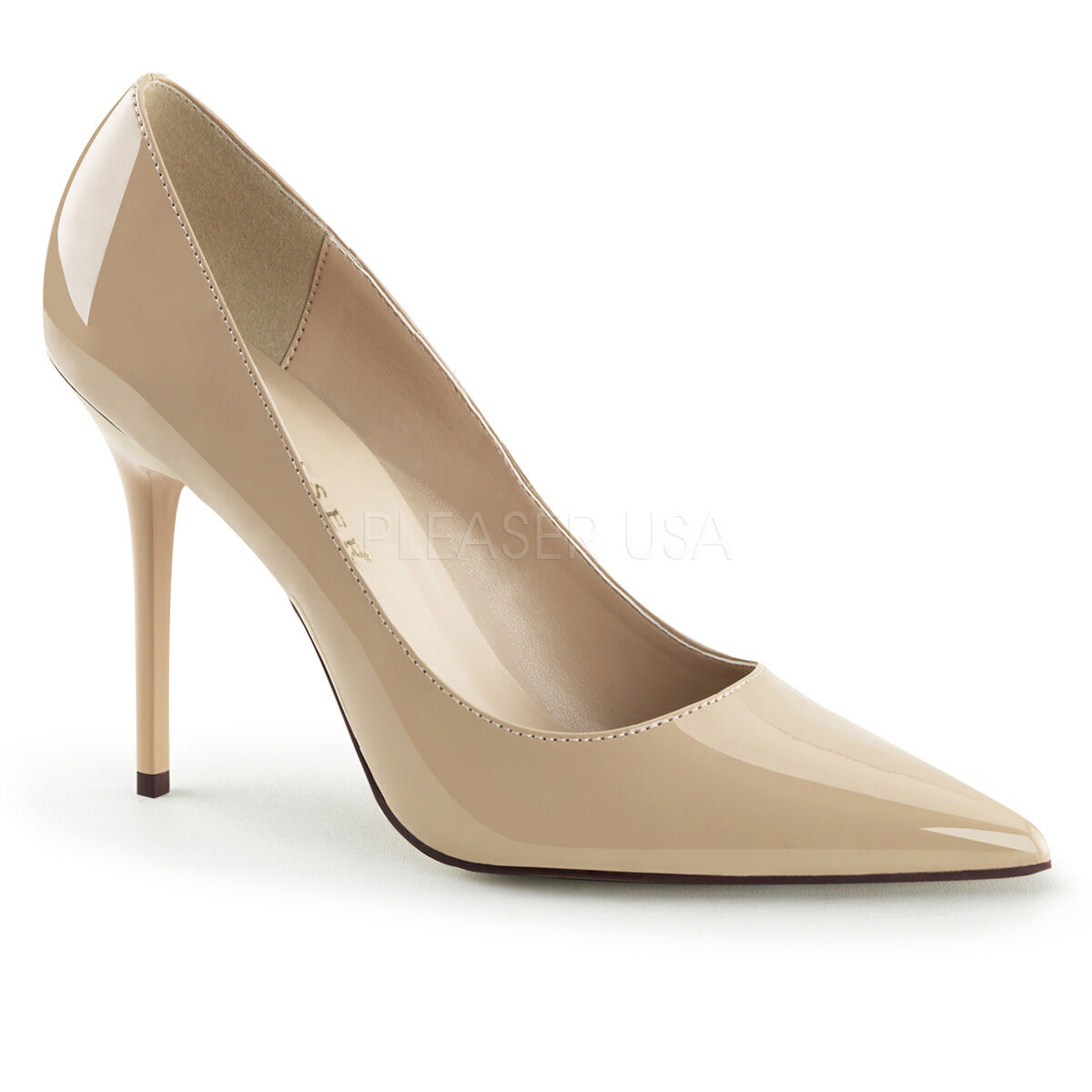 PLEASER CLASSIQUE-20 CREAM PATENT CLASSIC POINTED TOE COURT SHOES