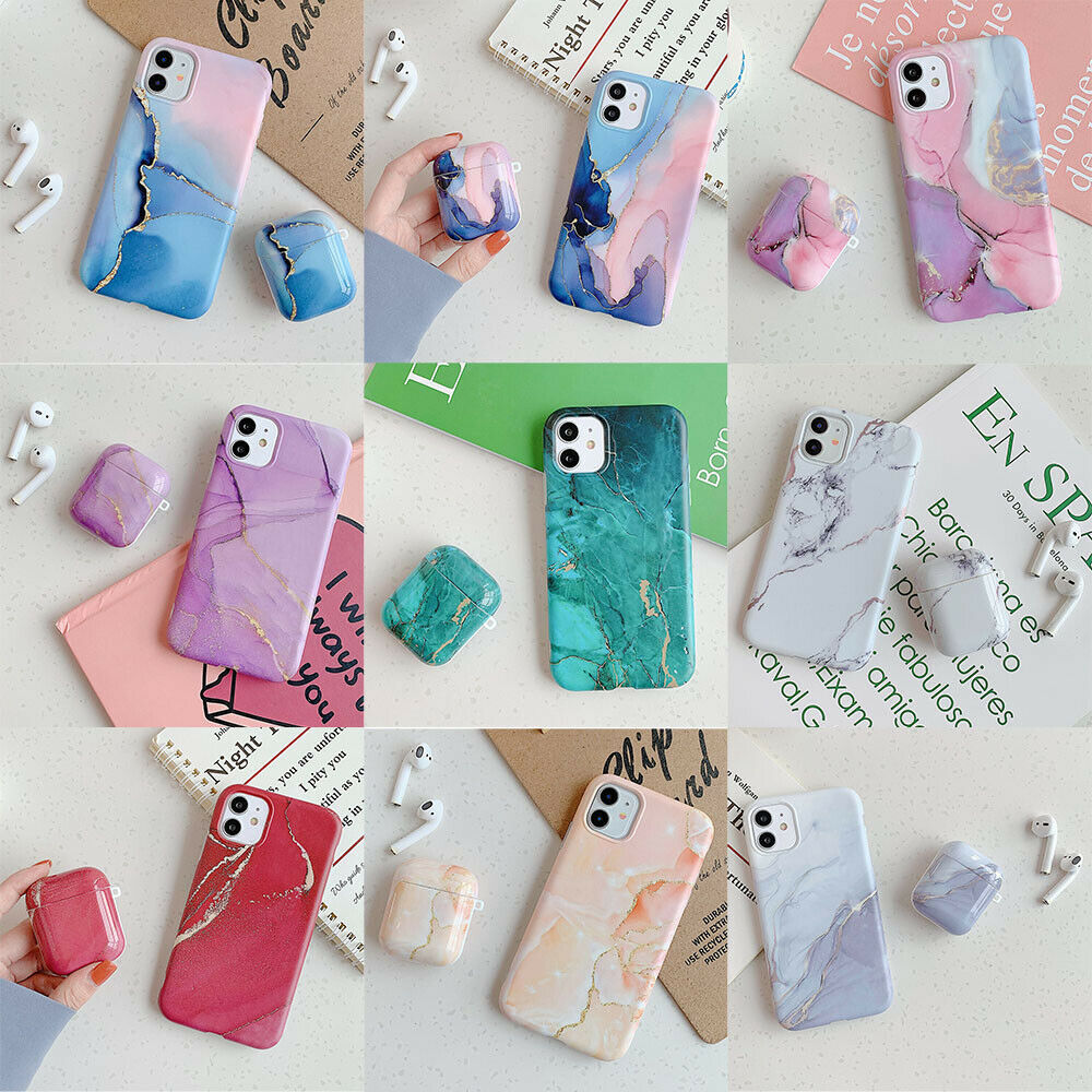 For Iphone 11 Pro Max Xs Xr 7 8 Plus Airpods Pro 2 1 Marble Soft Tpu Case Cover Ebay