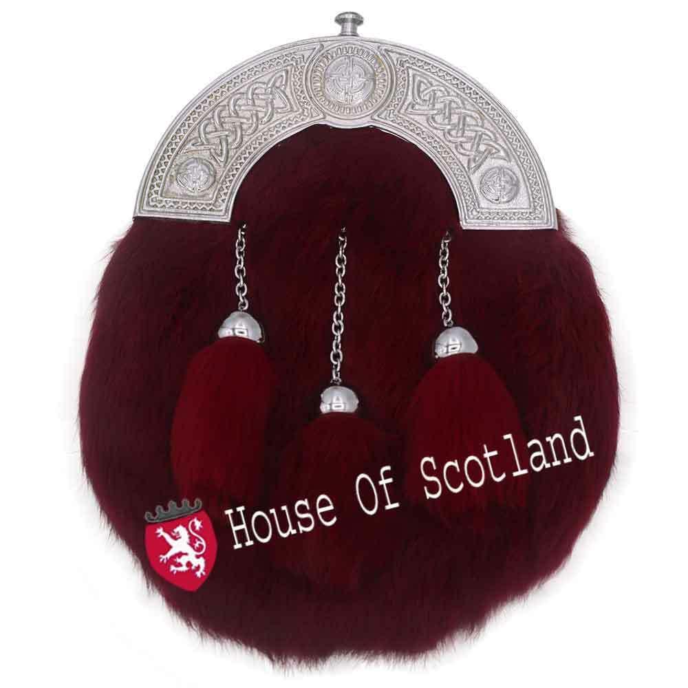 Men's Scottish Full Dress Kilt Sporrans Leather Maroon Fur Celtic Cantle Chrome