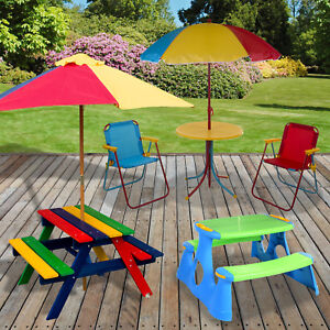 Image Is Loading Kids Childrens Picnic Bench Table Outdoor Garden Furniture