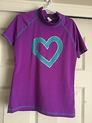 Girl's Rash Guard Sz 10-12 Large Purple Short Sleeved Children's Place Heart