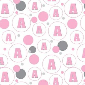 Gift Wrap Wrapping Paper Pattern Letter Initial Baby Girl Block Font